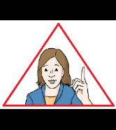 Achtung! Frau in einem roten Warn-Dreieck zeigt mit dem Finger nach oben