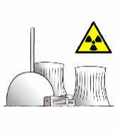 Atom-Kraftwerk mit gelb-schwarzem Warn-Dreieck