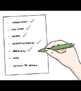 Checkliste: Jemand hakt Punkte von einer Liste ab, die schon geschafft sind