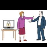 Datenschutz: Eine Frau lässt einen Mann nicht an einen Computer. Auf dem Computer-Bildschirm sieht man ein Schloss. Das bedeutet: Der Inhalt ist geheim. Die Daten sind geschützt.