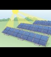 Die Sonne scheint auf eine Solar-Anlage