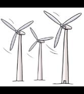 3 Wind-Räder. Sie machen Wind-Energie