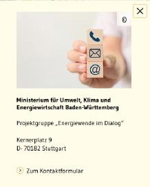 Kasten mit Kontakt-Informationen vom Ministerium für Umwelt, Klima und Energiewirtschaft