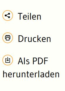 Kasten mit drei Zeichen: Teilen, Drucken, als PDF herunterladen