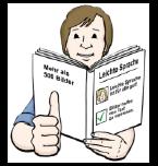 Leichte Sprache: Man liest ein Buch und zeigt den Daumen nach oben