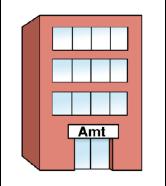 Rotes Haus mit der Aufschrift: Amt