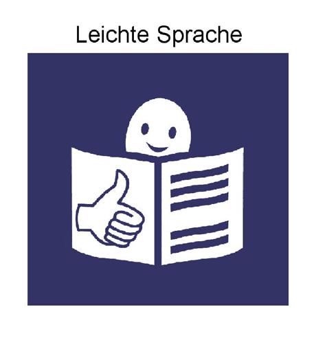 Blaues Quadrat mit Figur, Daumen hoch und aufgeschlagenem Buch. Darüber steht Leichte Sprache.